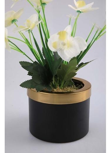Kibrithane Çiçek Yapay Çiçek Metal Saksı Mini Beyaz Kumaş Orkide Kc00200794 Renkli